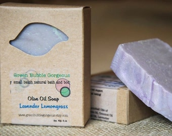 Natural Soap, Olive Oil Soap, Lavender Lemongrass Soap made with organic oils, FREE SHIPPING by greenbubblegorgeous on etsy