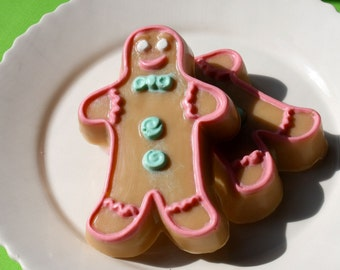 Christmas Soap, Gingerbread Man Natural Vegan Soap, made with essential oils by greenbubblegorgeous on etsy FREE SHIPPING