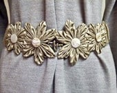Silk Kanzashi Flower Stretch Belt - Wide