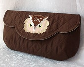 Scalloped Owl Clutch - Quilted Silk Dupioni with Owl Applique Patch - Espresso