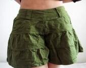 P3, Dark Green Summer Sea Beach Green Cotton Skorts, green shorts