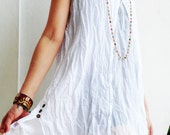 D6, Two Tone Two Layers Sleeveless Snow White Cotton Dress