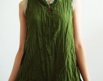 B5, Banana Leaf Two Tone Two Layers Sleeveless Cotton Dark Green Blouse