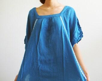 B11, Sky Moth Blue Cotton Blouse, women blouse