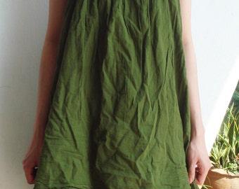 D17, Easy Going Spring Dark Green Cotton Dress