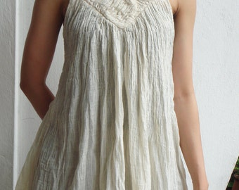 B9, Lily White Sleeveless V Neck Off-White Cotton Blouse, cream blouse