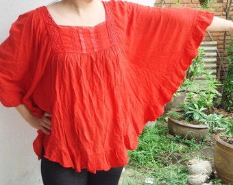 B8, Bright Red Butterfly Effect Cotton Blouse, red blouse