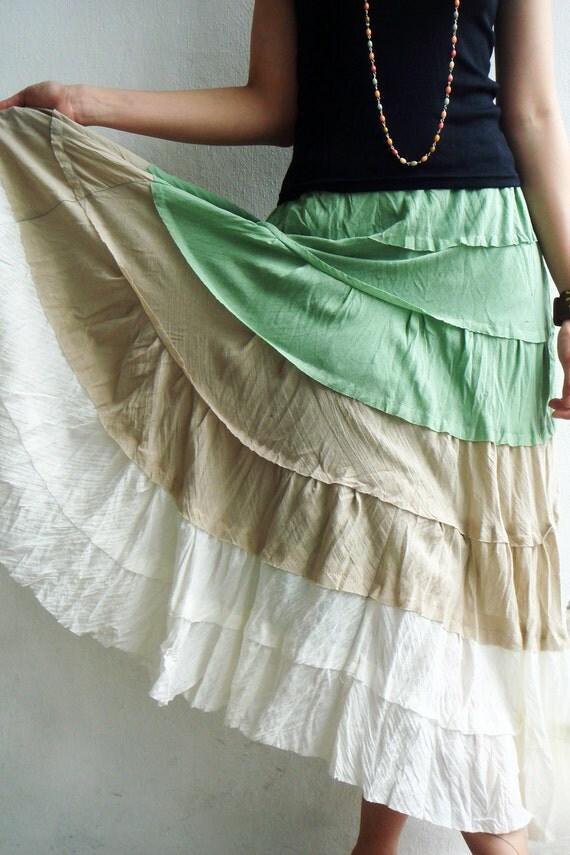 Wavy Mint Green Cotton Skirt