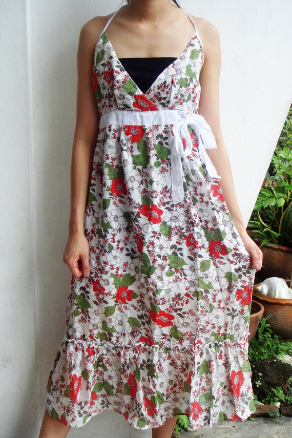 D8, Queen Elizabeth Garden Flower Maxi White Cotton Dress, women dress
