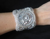Bridal Wedding Vintage Inspired Beaded Silver Bracelet Cuff