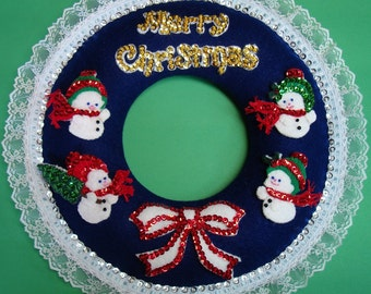 Sequined felt applique kit for Snow Babies Christmas Wreath