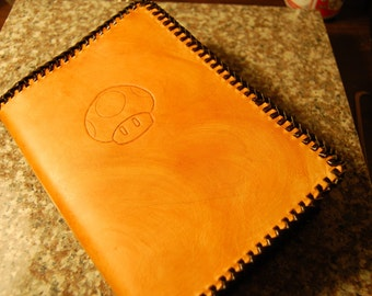 Handmade Custom Leather Journal Cover - Personalized - Brown - Black - 5x7 or 6x8