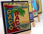 Tiki Bar Decor Coaster Set, retro Tiki matchbook cover art, wood drink coasters, tropical beach decor, man cave gifts