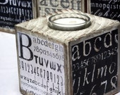 Wood Candle Holder, Alphabet Tea Light Candle Holder, Typography Print, Wooden Block Candle Set, Black and White Decor, Hostess Gift