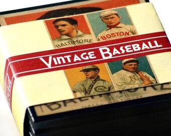 Vintage Baseball Card Drink Coasters Set of Four Sports Decor