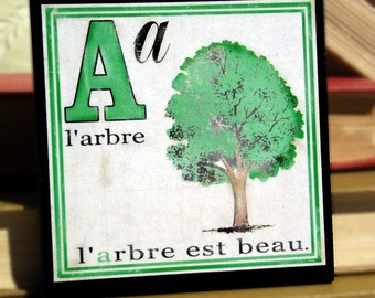 Coasters French Decor Children's Alphabet Book Coasters Set of Four