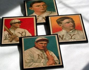 New York Giants Coaster Set, Wood Baseball Card Coasters, Man Cave Decor, Father's Day Gift Idea, NY Giant, Baseball History, Sports Decor