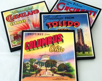Ohio Coaster Set, Ohio Decor Wood Drink Coasters, Cleveland, Columbus, Toledo, Cincinnati Pride, Hostess Gift, Party Favor, Buckeye Decor