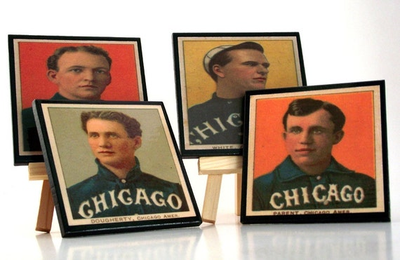 Chicago White Sox Coaster Set, Vintage  Baseball Card, Sports Decor, Man Cave Drink Coasters, Father's Day Gift Idea