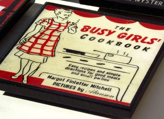 Retro Kitchen Cookbook Coasters Tabletop Decor Coaster Set