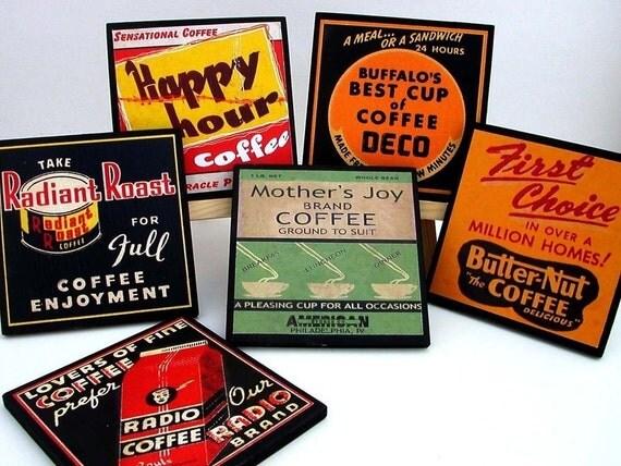 Coaster Set Vintage Coffee Labels