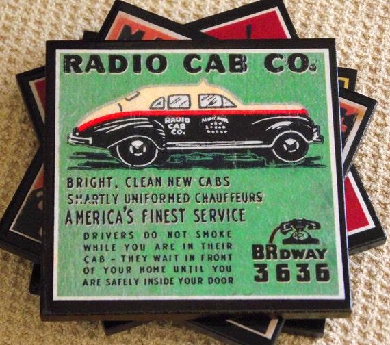 Handmade Coaster Set Taxi Cabs Retro Decor Cars and Automobiles