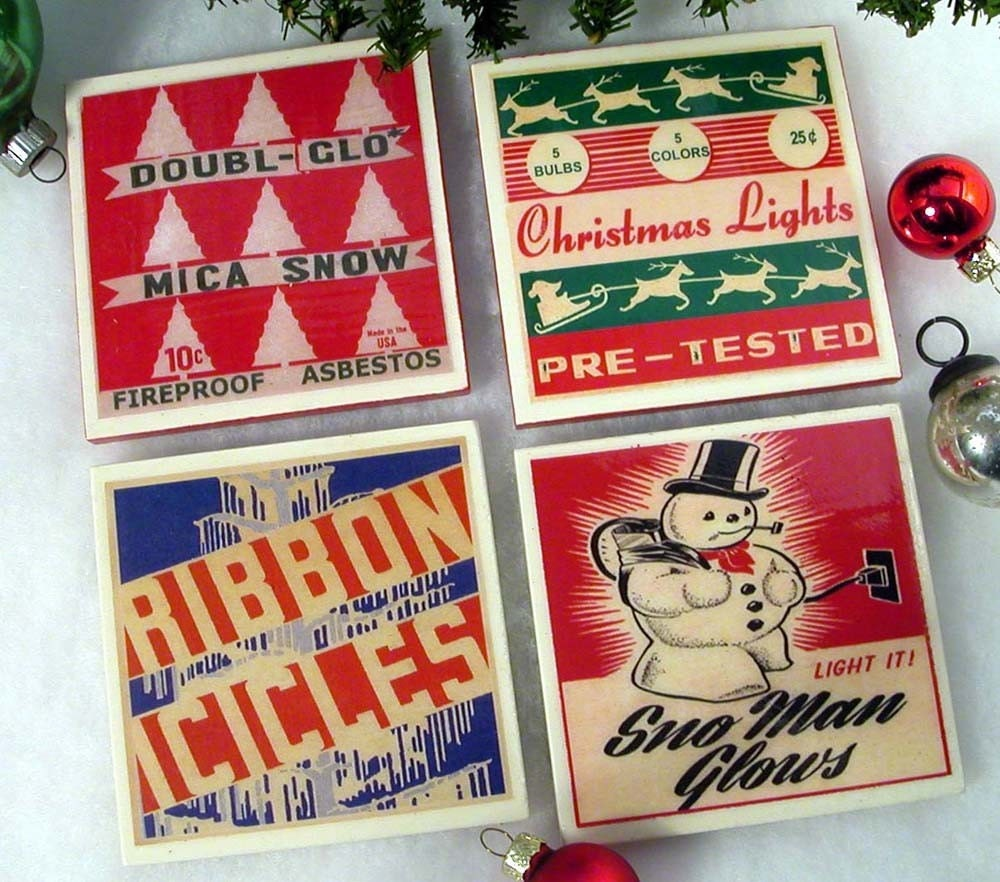 Retro christmas drink coaster set holiday party decor - Coaster sets for drinks ...
