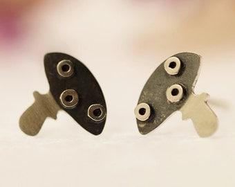 MUSHROOM Stud Earrings Sterling Silver Mini Zoo series