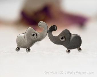ELEPHANT Silver Stud Earrings Mini Zoo series