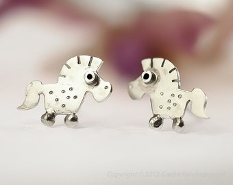 PONY Stud Earrings Sterling Silver Mini Zoo series