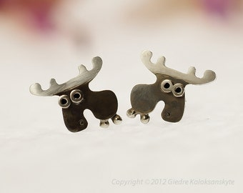 MOOSE Stud Earrings Sterling Silver Mini Zoo series