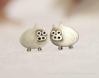 PIGLET Sterling Silver Stud Earrings Mini Zoo