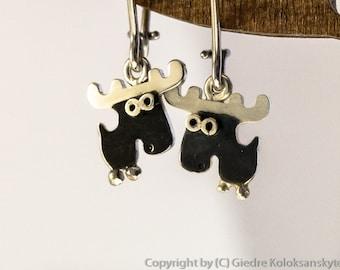 MOOSE Dangle Earrings Sterling Silver Mini Zoo series