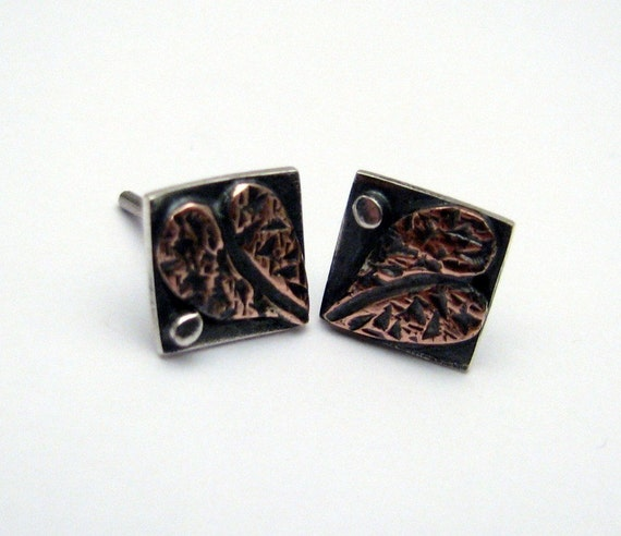 Copper Heart Decor Sterling Silver Stud Earrings