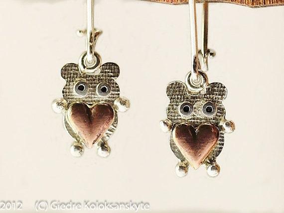 Valentine Teddy Bear Silver Dangle Earrings Copper Heart Textured