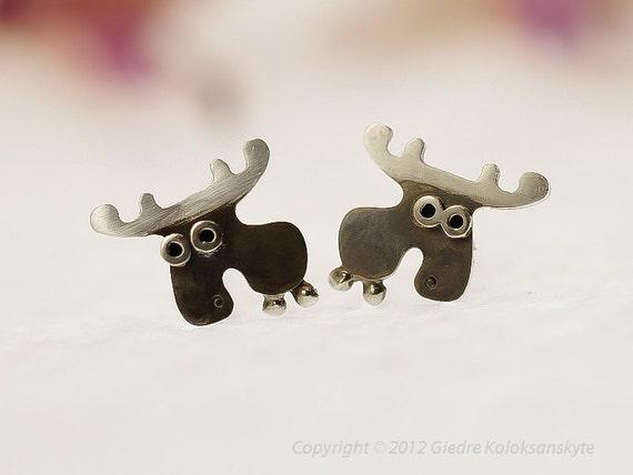 MOOSE Stud Earrings Sterling Silver Mini Zoo series