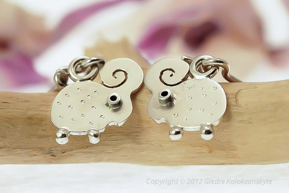 LAMB Dangle Earrings Sterling Silver Mini Zoo series