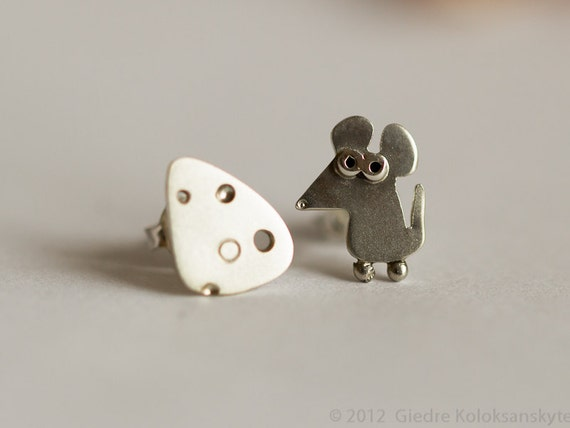 Mouse and Cheese Stud Earrings Sterling Silver Mini Zoo series