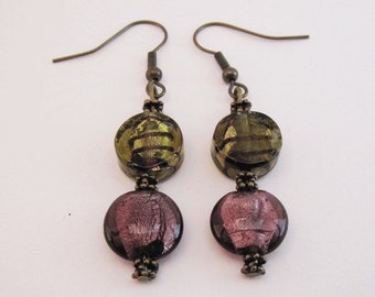 Olive Green and Purple Glass with Antique Brass Earrings Pierced Dangle Handmade