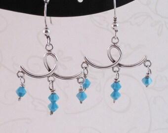 Sterling Silver & Blue Swarovski Crystal Earrings Dangle Handmade