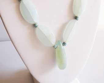 Blue Chalcedony,  Amazonite & Sterling silver Necklace Handmade