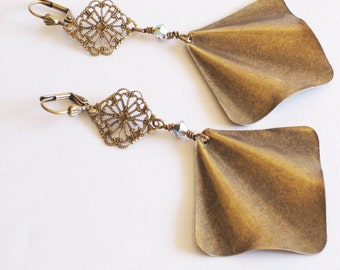 Antique Brass Fan & Filigree Earrings Pierced Dangle Handmade