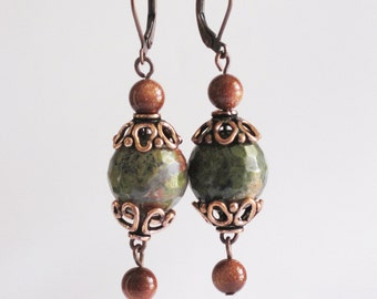 Unakite Goldstone & Antique Copper Pierced Dangle Earrings Handmade