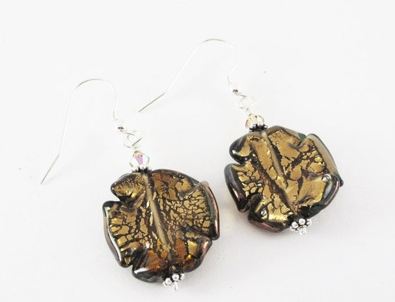 Brown Silver Lined Lamp Work Glass Pierced Dangle Earrings Handmade