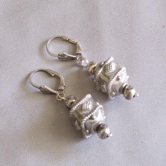 Fancy Bali Silver Square Bead Earrings