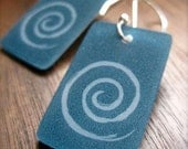 spiral dangle earrings - modern simple style - shrinky dink jewelry - lightweight