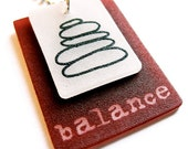 balance pendant necklace - inspirational jewelry  - rock cairn - red - shrinky dink art