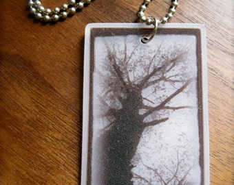 shrink art tree photo pendant necklace - plastic nature jewelry