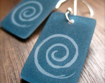 spiral dangle earrings - modern simple style - shrinky dink jewelry - lightweight