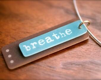 yoga jewelry - breathe necklace - aqua plastic wearable art